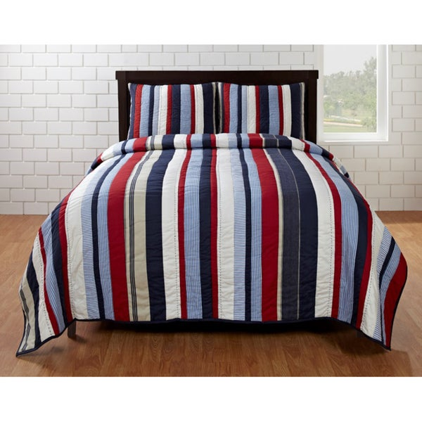 Shop Cameron Red Blue Striped 3 Piece Quilt Set On Sale