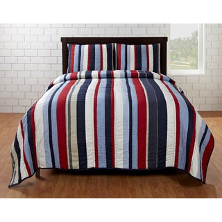 Cameron Red/ Blue Striped 3-piece Quilt Set (2 options available)