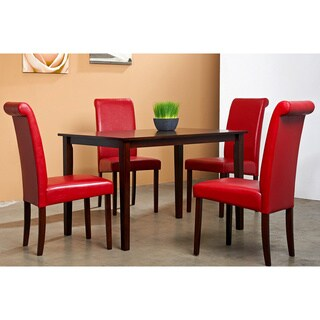 Warehouse of Tiffany Five-Piece Red Bicast Leather Oak Dining Furniture Set