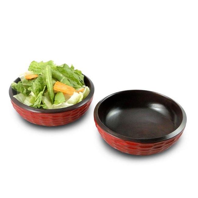 Handmade Set of 2 Mango Wood Brick Side Salad Bowls (Thailand)