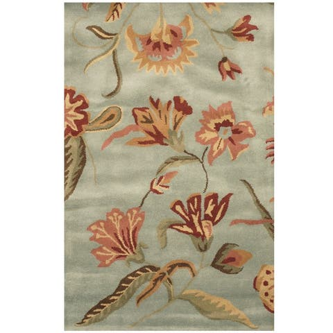 Handmade Floral Wool Rug (India) - 3'3 x 5'3