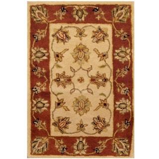 Herat Oriental Indo Hand-tufted Mahal Beige/ Rust Wool Rug (2' x 3')