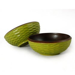 Set of 2 Mango Wood Side Salad Bowls (Thailand)