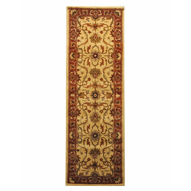 Indo Hand-tufted Beige/ Rust Wool Rug (2'6 x 8')