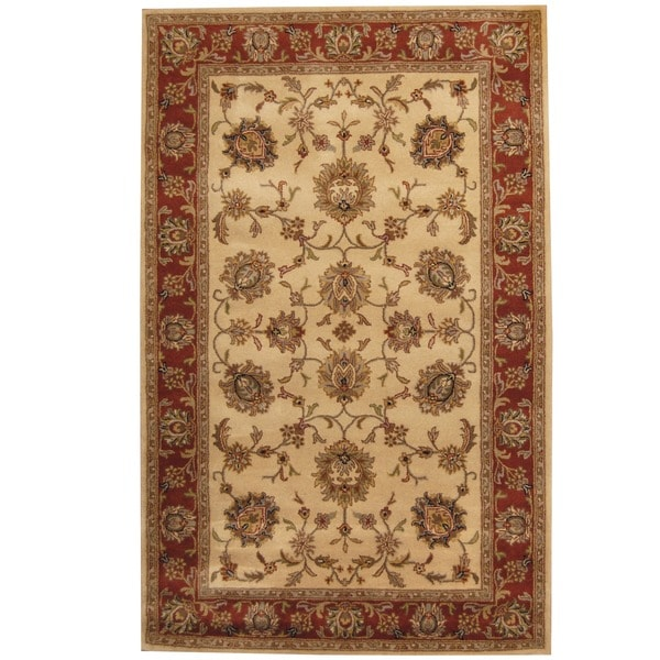 Herat Oriental Indo Hand-tufted Mahal Beige/ Rust Wool Rug (5' x 8')