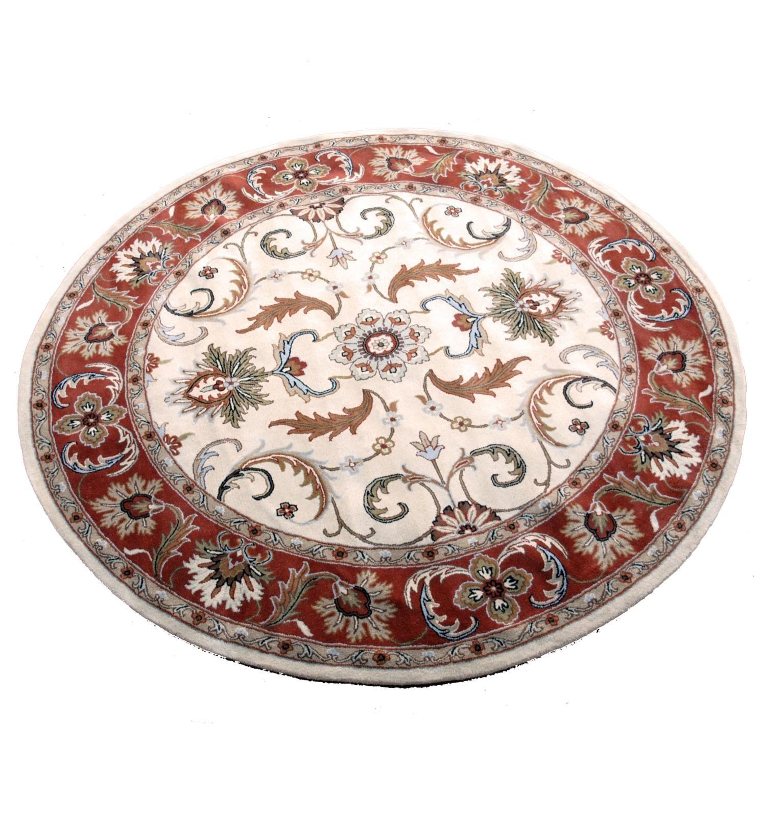 Indo Hand-tufted Beige/ Rust Wool Rug (8' Round)