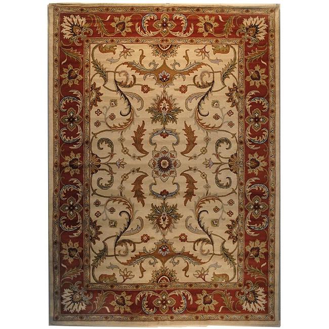 Herat Oriental Indo Hand-tufted Mahal Beige/ Rust Wool Rug (8' x 11')