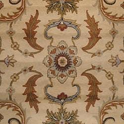 Herat Oriental Indo Hand-tufted Mahal Beige/ Rust Wool Rug (8' x 11') - Thumbnail 1