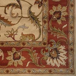 Herat Oriental Indo Hand-tufted Mahal Beige/ Rust Wool Rug (8' x 11') - Thumbnail 2