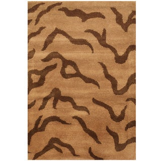 Herat Oriental Indo Hand-tufted Tibetan Beige/ Brown Wool Rug (2' x 3')