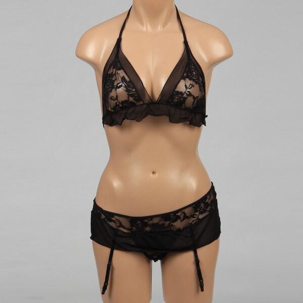 Rene Rofe Black Sexy Lace Mesh Bra and G-string
