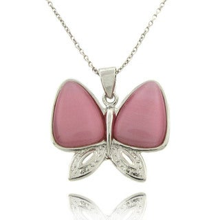 Dolce Giavonna Sterling Silver and Pink Cat's Eye Butterfly Necklace