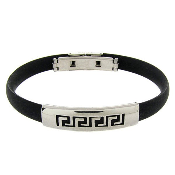 Gravity Stainless Steel and Rubber Greek Key Bangle Bracelet
