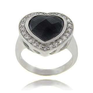 Dolce Giavonna Sterling Silver Black and Clear Cubic Zirconia Heart Ring