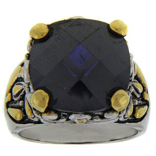 Dolce Giavonna Two-tone Brass Purple Cubic Zirconia Ring (Size 8)