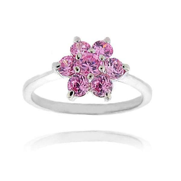 Dolce Giavonna Sterling Silver Pink Cubic Zirconia Flower Ring