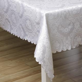 White Medallion Floral Jacquard Rectangular Tablecloth