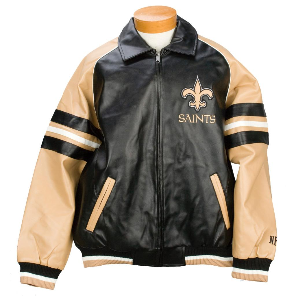 men's new orleans saints pleather varsity jacket - free shipping