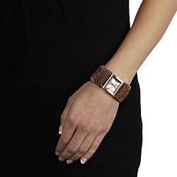 Geneva Women's 'Platinum' Safety Pin Stretch Watch - Thumbnail 2