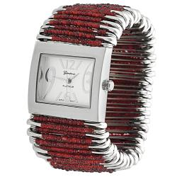 Geneva Women's 'Platinum' Red-bead Safety-pin Stretch Watch