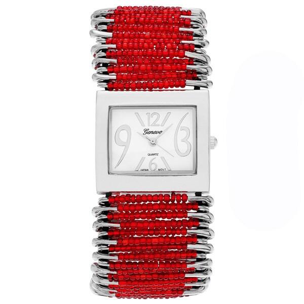 Geneva Women's 'Platinum' Red-bead Safety-pin Stretch Watch