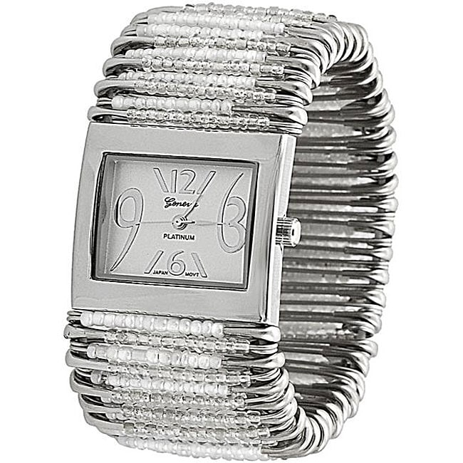 Geneva Women's 'Platinum' Safety Pin Stretch Watch with Clear/White Beads - Thumbnail 0