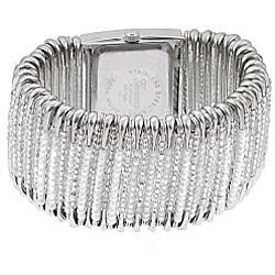 Geneva Women's 'Platinum' Safety Pin Stretch Watch with Clear/White Beads - Thumbnail 1