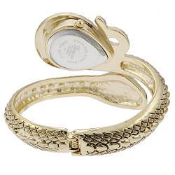 Geneva Women's Gold 'Platinum' Coiled Snake Rhinestone Cuff Watch - Thumbnail 1