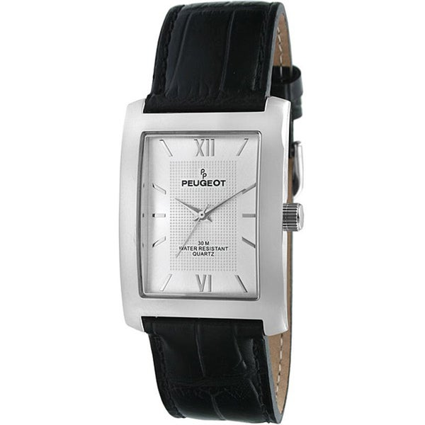 Peugeot Men's Silvertone Leather Strap Watch