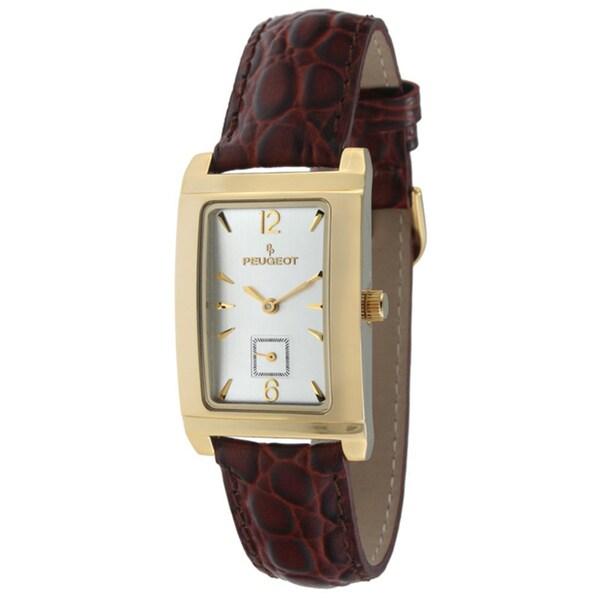 Peugeot Men's Goldtone Brown Leather Strap Watch