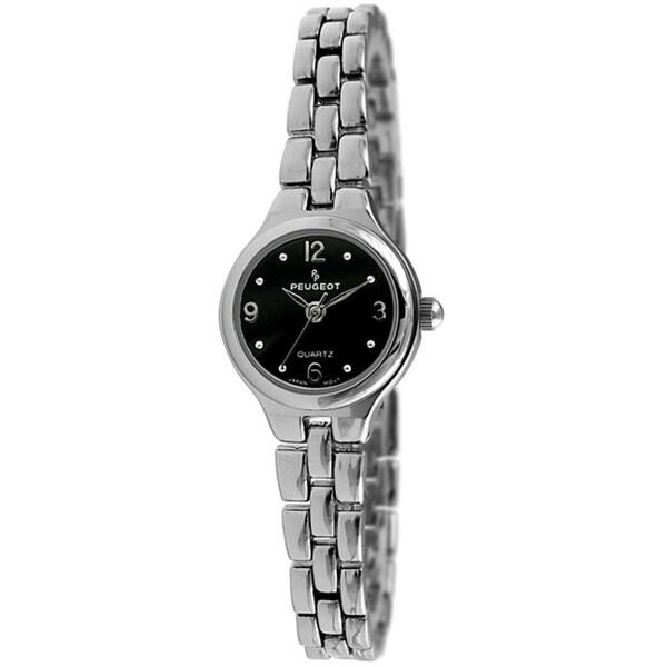 Peugeot Women's Silvertone Watch with Black Dial