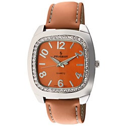 Peugeot Women's Japanese Quartz Orange Leather Strap Watch