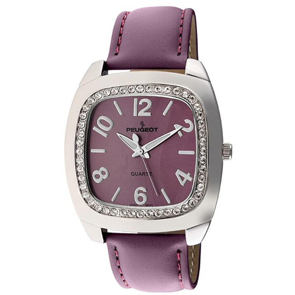 Peugeot Women's Purple Leather-Strap Crystal-Accented Watch