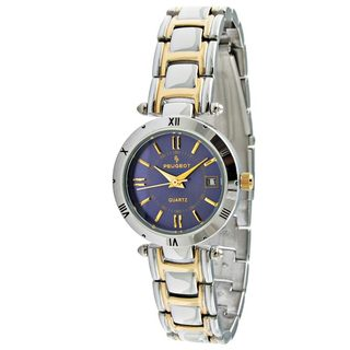 Peugeot Women's Two-Tone Water-Resistant Bracelet Watch with Blue Dial