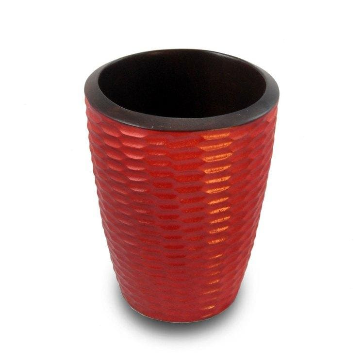 Handmade Brick-red Mango Wood Honeycomb-carved Utensil Vase (Thailand)