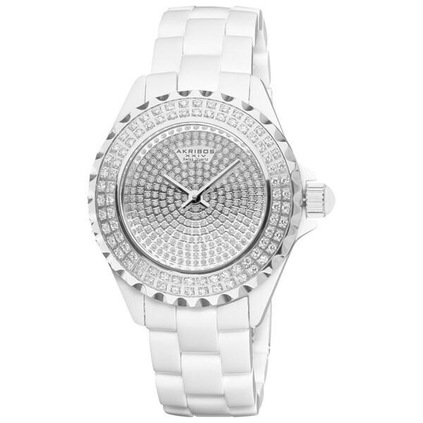 Akribos XXIV Women's Dazzling Ceramic Swiss Quartz White Watch with FREE GIFT