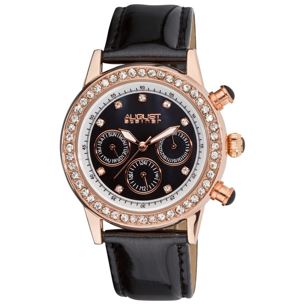 August Steiner Women's Multifunction Dazzling Black Strap Watch with Rose-Tone Accents
