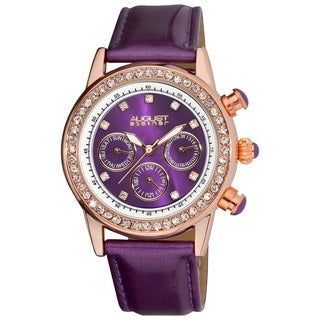 August Steiner Women's Multifunction Dazzling Leather-Purple Strap Watch