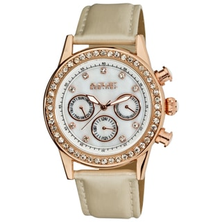 Ivory August Steiner Women's Multifunction Dazzling White Strap Watch