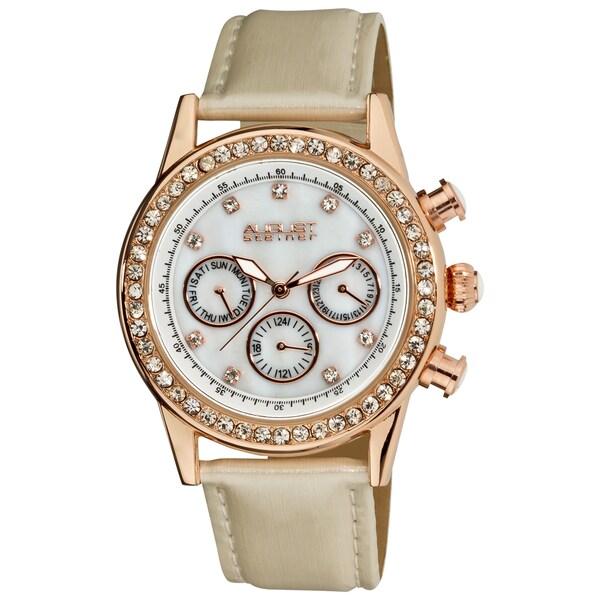 Ivory August Steiner Women's Multifunction Dazzling White Strap Watch