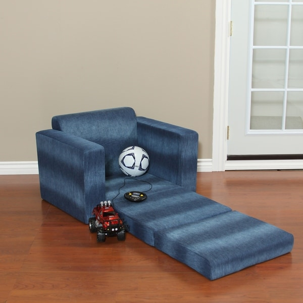 Blue Denim Kids Chair with Fold Out Sleeper. Opens flyout.