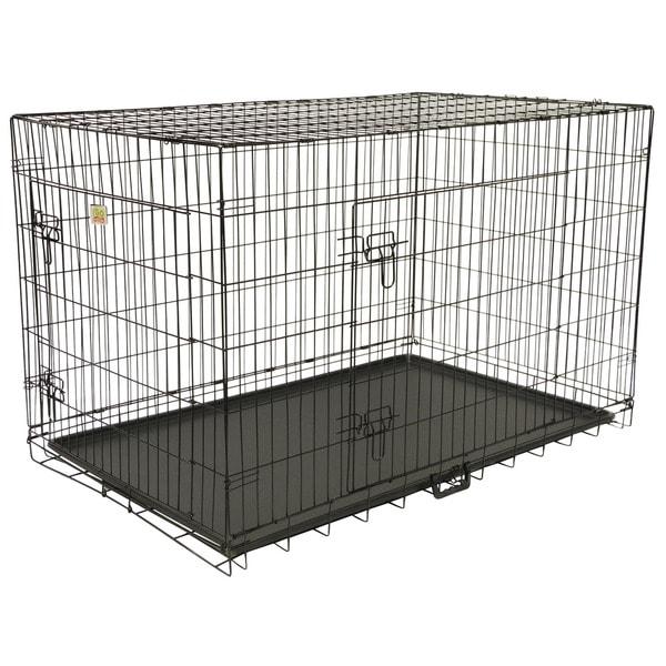 GoPetClub 48-inch 2-Door Folding Metal Dog Crate w/ Divider