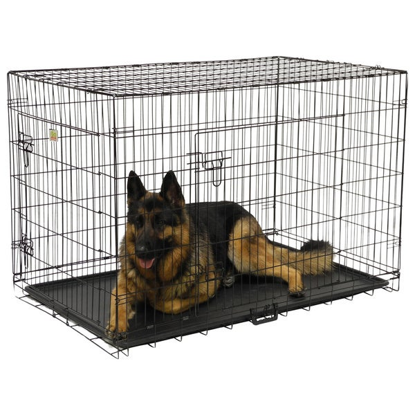 gopetclub 30inch 2door metal folding dog crate w divider free shipping today