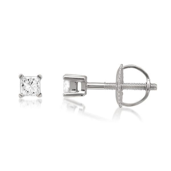Montebello 10k White Gold 1/5ct TDW Princess-cut Diamond Stud Earrings