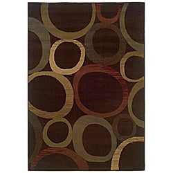 "Brown Geometric Rug - 5' x 7'6"" - Thumbnail 0"