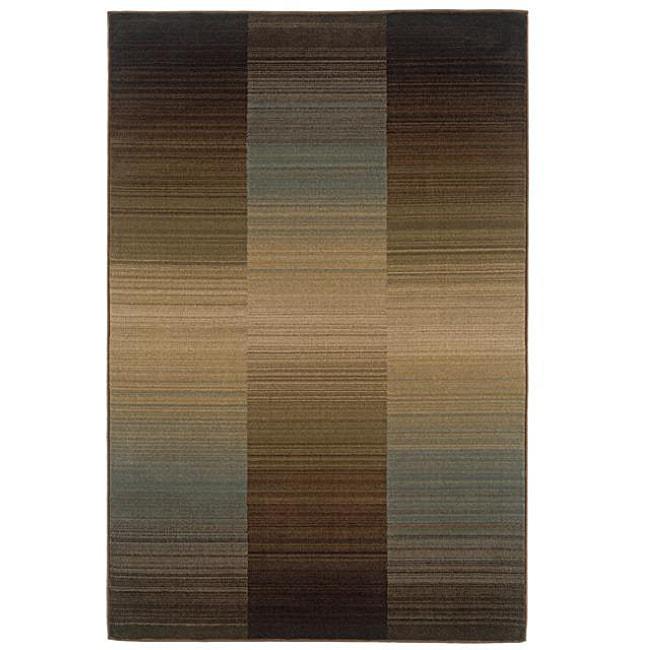 "Brown Stripe Rug - 5' x 7'6"""
