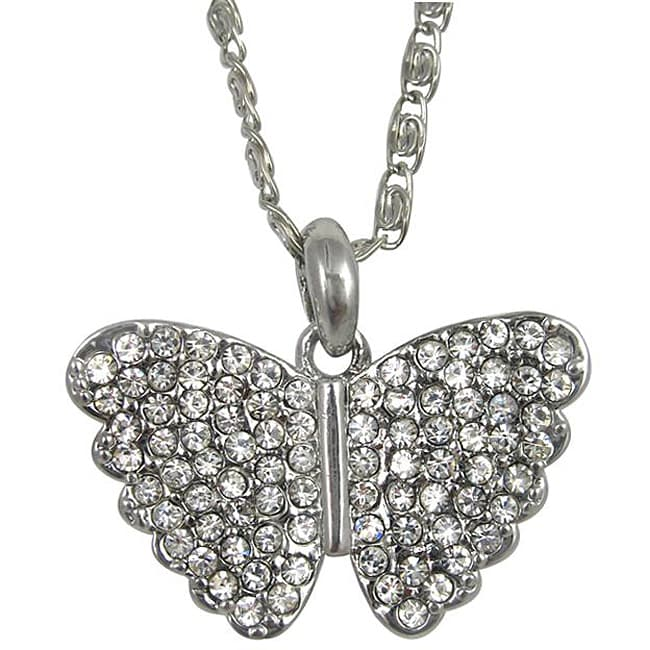Silvertone Crystal Butterfly Necklace - Thumbnail 0