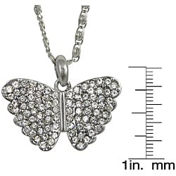 Silvertone Crystal Butterfly Necklace - Thumbnail 2