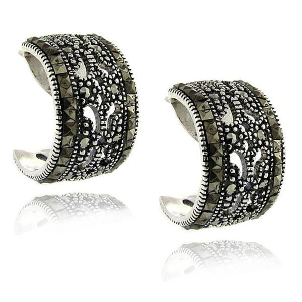 Dolce Giavonna Sterling Silver Marcasite Half-hoop Earrings