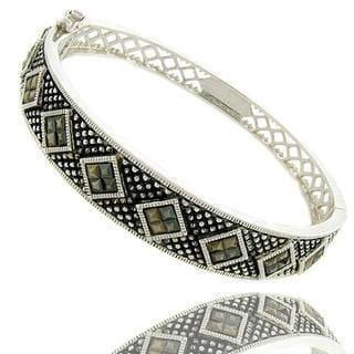 Dolce Giavonna Sterling Silver Marcasite Bangle Bracelet